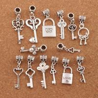 Wholesale heart locket bracelets - 14Styles Love Key Locket Dangle Charm 140pcs lot Metal Big Hole Beads Dangle Fit European Bracelet Jewelry DIY