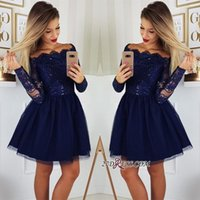 25864bc6dd4 Wholesale homecoming dresses online - 2019 Long Sleeves Lace A Line  Homecoming Dresses Tulle Applique Short
