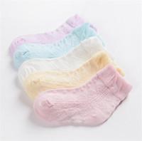Wholesale thin cotton socks children - 5 Pairs Lot Spring Summer Mesh Thin Kids Socks Unisex Toddlers Children Casual Short Cotton Baby Girl Boy Socks Child sock