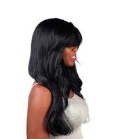 черные волнистые челки парика оптовых-Синтетические Волнистые Парики с Высокой Температурой Волокна Челки Натуральные Волосы Черный Длинный Парик для Черных