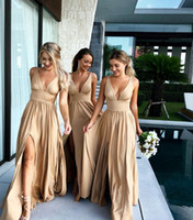 Wholesale train empire - 2018 Sexy Champagne Long Bridesmaid Dresses Deep V Neck Empire HIgh Split Side Elastic Silk Beach Boho Bridesmaid Gowns Maid of Honor Dress