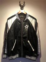 chaquetas de moto estrella al por mayor-2018 nuevas chaquetas de cuero de moda de primavera para hombres, rayas blancas negras estrellas bordado chaqueta de cuero de los hombres de marca motocicleta chaquetas de cuero