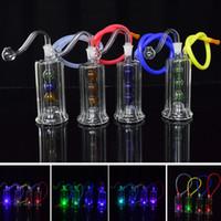 led toplar su aydınlatması toptan satış-Geri dönüşümlü Dab Rig Led Işık Cam Bongs Su Borular Bong 10mm Ortak 4.5