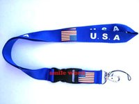 Wholesale usa free phone for sale - NEW USA Flag Blue neck Lanyards Lanyard Detachable Keychain ID Phone Neck straps