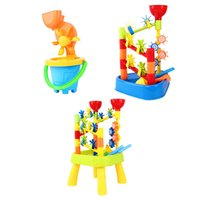 châteaux d'eau achat en gros de-Jouets de plage pour les enfants l'eau de sable Été enfants plage jouet Sandbeach Enfants Château Seau Pelle Pelle Râteau Outil De L'eau