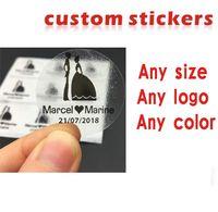 impresión de etiquetas transparentes al por mayor-pegatinas personalizadas / logotipo plástico PVC papel de vinilo transparente claro adhesivo redondo holograma papelería adhesivo etiquetas impresión