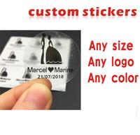 için vinil yapışkan kağıt toptan satış-Özel çıkartmalar / logo plastik PVC Vinil kağıt şeffaf şeffaf yapışkanlı yuvarlak hologram kırtasiye sticker etiket baskı