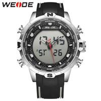Wholesale weide quartz brands watch resale online - WEIDE Sport Brand Water Resistant Quartz Digital LCD Dual Time Zone Date Day Alarm Chronograph Leather Strap Men Wrist Watches