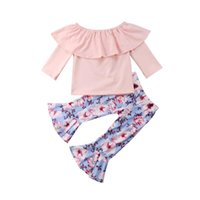 горячая розовая одежда дети оптовых-2018 Hot Casual Baby Girl Clothes Toddler Kids Pink Lotus Collar Shirt Top+Floral Bell-Bottoms Pants Cotton Baby Clothing Outfit