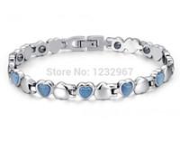 wholesale magnetic therapy bracelets 2018 - Free Shipping! Blue 316L Titanium Steel Germanium Health Magnetic Therapy Jewelry Health Bracelet