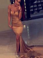 ingrosso abiti di fantasia giallo-Vestito da cerimonia sexy con scollo a V a spalline e vestito da cerimonia di gala