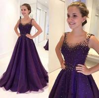 vestidos de fiesta de lentejuelas púrpura al por mayor-2019 Purple Bling con lentejuelas con cuentas fiesta de quinceañera vestidos de fiesta cuello redondo escarpado una línea de vestidos de noche de longitud de piso vestido de la celebridad
