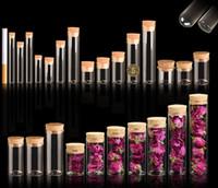 ingrosso flaconi del tubo di prova sughero-4 ~ 25ml Tappo di sughero Vasi di vetro Vasi trasparenti Bottiglia di provetta Bung Artigianato Bottiglia di semi di sementi