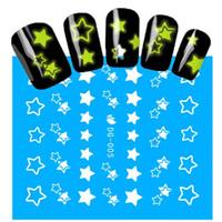 ingrosso stella di adesivi glitter-1 fogli NUOVI adesivi luminosi per unghie Motivo a stelle Glitter Nail art decalcomanie Suggerimenti per manicure Decorazione fai da te Accessori moda