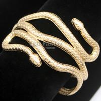 indisches schlangenarmband großhandel-saleGold Silber Ägypten Kleopatra Swirl Snake Arm Manschette Armbinde Armband Big Wide Armreif Armband Manschette Indischer Schmuck Pulseiras Frauen Männer