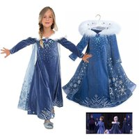 Wholesale fairy costumes baby - children movie costume cosplay skirts baby girls snow queen princess dress kids dress up prom party dress with snowflake BBA191