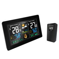 ingrosso sensori wireless stazione meteo-Stazione meteo wireless Sensore di umidità per la temperatura Display LCD colorato Previsioni meteorologiche Snooze alarm clock Radio contraol Time