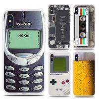 couverture drôle iphone achat en gros de-Coque souple en TPU pour iPhone 7 8 Plus X 6 bière, téléphone Gameboy batterie, couvercle en silicone transparent pour iPhone XS Max XR