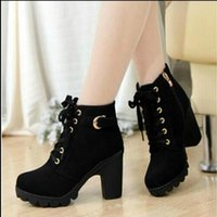 Wholesale Korean Lace Up Boots - Autumn and winter new Korean version of the high-heeled rough with the female boots lace boots Martin boots women
