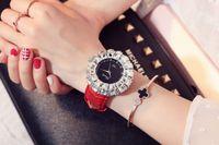 big brown leather wrist watch 2018 - Big explosionHot new style Gold Watch Women Watches Luxury Brand New Geneva Ladies Quartz Rhinestone wrist watches Clock Female Dress Relogi