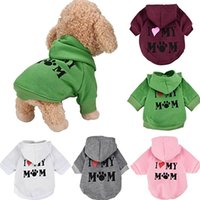 Wholesale Pet Clothes Puppy Winter Hoodie Sweater Dog Coat Warm Sweatshirt Love My Mom Printed Dog Shirt