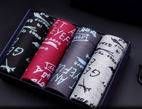 boxers modais xl venda por atacado-Mens Boxers Modal Impressão Underwears Moda Masculina Cuecas 4 Pcs Muito Homens Confortáveis Mid-Cintura Boxers L-3XL