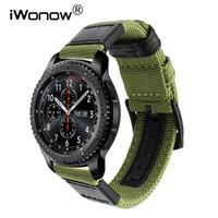 часы пояса нейлон оптовых-Подлинная нейлон + Кожаный ремешок для часов для Samsung Gear S3 Classic Frontier Quick Release Watch Band холст ремешок браслет на запястье ремень