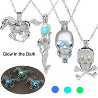 Wholesale Silver Skull Jewelry Wholesale - Luminous Glowing in the Dark Horse Necklace Silver Horse Marmaid Skull Dragon Pendant Lockets chain Fashion Jewelry for Women Drop Shipping