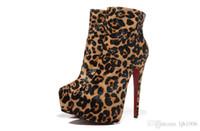 Wholesale leopard print snow boots women - Size 34-42 Women's 16cm High Heels Leopard Print Leather Genuine Horsehair Ankle Zip Boots, Ladies 6cm Platform Shoes logo