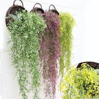 Wholesale artificial hanging plant decoration wedding resale online - Artificial Flowers String for Valentine s Day Wedding Party Artificial Hanging Plant Pot Basket Indoor Outdoor Garden Decoration