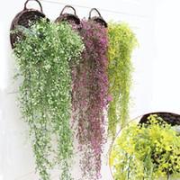 ingrosso piante artificiali da giardino pendenti-Stringa di fiori artificiali per il giorno di San Valentino Wedding Party Artificiale Hanging Vaso da fiori Cesto Indoor Outdoor Garden Decoration