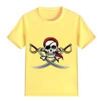 Wholesale pirate knives - NEW ARRIVAL Children Cartoon T Shirt Pirate Skull with Knifes Printed Boy Kid Clothes Short Sleeve Girl Tee Shirt Kid Summer PH6009