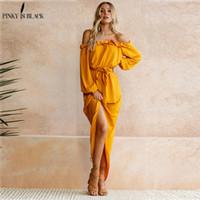 maxi uzun elbiseler sarı toptan satış-Pinky Olduğunu Siyah Kadınlar Plaj Boho Maxi Elbise 2018 Yaz Yüksek Kalite Kapalı Omuz Sarı Vintage Uzun Elbiseler Kadınsı Ruffles