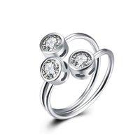 perlenschmucksacheporzellan freies verschiffen großhandel-Echtes Sterling Silber 925 Ring, Mode Dame Silber Ring 3-Beads Eröffnung Zricon Hochzeit Ringe Schmuck kostenloser versand R023