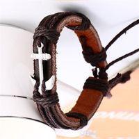 tierkreis armbänder für männer großhandel-Mode Vintage 4 Farbe Anker Geflochtene Lederarmband Charms Tierzeichen Woven Seil Armbänder Männer Armreifen Feine Männer Schmuck b073