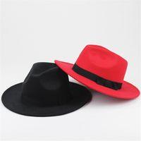 Wholesale Mens Fedoras - Fashion Vintage Hats Womens Mens Trilby Caps Jazz Hats Fedoras Top Wide Brim Hats Popular Formal Fashion Cap