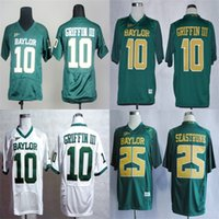Wholesale Football Bearing - Hot Sale Mens Baylor Bears 10 Robert Giffin III 25 Lache Seastrunk Green White Best Quality Cheap Stitched College Football Jerseys