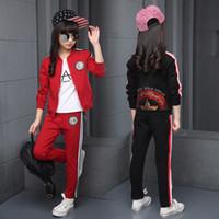 rote mädchen trainingsanzug großhandel-Kinder Kleidung Sets Baumwolle Herbst Rot Sport Anzüge Für 5 6 7 8 9 10 11 12 Jahre Alt Mädchen Sportswear Casual Dark Trainingsanzüge