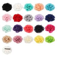saç taç yaprakları toptan satış-120 adet / grup 20 renkler 8.5 cm Şifon Yaprakları Haşhaş Çiçek Saç Klipler Çocuklar Kızlar Için Haddelenmiş Gül Kumaş Saç Çiçekler Saç Aksesuarları