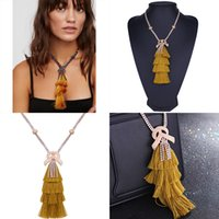 yellow statement fashion necklaces NZ - Boho Jewelry Sets for Women 2018 Fashion Jewelry Cotton Tassel Statement Fringed Necklace and Earring Sets Party
