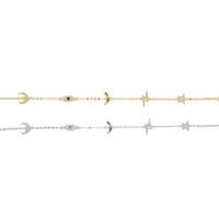 bracelets à bracelet étoilé achat en gros de-925 en argent sterling mignonne charmant charme lien chaîne bracelet pour les femmes arc-en-lune lune étoile chanceux dainty charme charmants bracelets