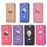boîte à vin rouge pour samsung achat en gros de-Étui en cuir de verre de vin rouge tasse de vin rouge pour iphone 8 7 Plus 6 6 s 5 s 5 s Samsung Galaxy Note 9 J8 2018 S8 S9 Quicksand Star Stand Cover
