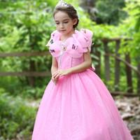 vestido de flores elegantes e amarelas venda por atacado-2018 boutique elegante flor menina dress princesa maxi vestidos vestidos de noiva com borboleta para a festa de aniversário de festa rosa amarelo livre dhl