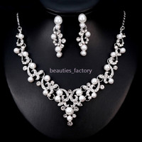 Wholesale water pearl necklace set resale online - Bridal Wedding Jewelry Artificial Pearl Crystal Rhinestone Necklace Earring Sets Wedding Party Jewelry Accessories BA182 New