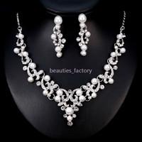 conjuntos de collar artificial al por mayor-Joyería nupcial de la boda Artificial Pearl Crystal Rhinestone Collar Pendiente Conjuntos Wedding Party Jewelry Accessories BA182 Nuevo