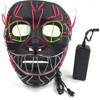 siyah kedi maskeleri toptan satış-LED Cadılar Bayramı Maskeleri Parti Maskeleri EL Tel Parlayan Maske Siyah Masquerade Doğum Günü Maskesi Karnaval Cosplay kedi Maskeleri Işıklı Oyuncaklar GGA1274