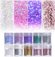 Wholesale art hexagon glitter for sale - Pink Purple Mixed Nail Glitter ml Hexagon Shape Nail Art Powder Glitters for Art Glitter Powder Dust Sheets Tips Box