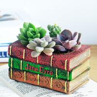 Wholesale Book Plants - Vintage Resin Book Shape Flower Pot Succulent Plants Pot Jane Eyre Book Flowerpot Home Garden Decoration Bonsai Planter