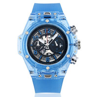 рабочая мода оптовых-Новый модный бренд 2018 мужские часы прозрачный ремешок для часов на открытом воздухе движение кварц большой циферблат календарь наручные часы роскошные часы все суб работы