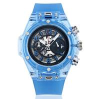 bracelet de calendrier achat en gros de-Nouvelle 2018 mode Marque Hommes regarder transparent bracelet de montre à l'extérieur de mouvement Quartz grand cadran Calendrier Montres de luxe Montres Tout SUB travail